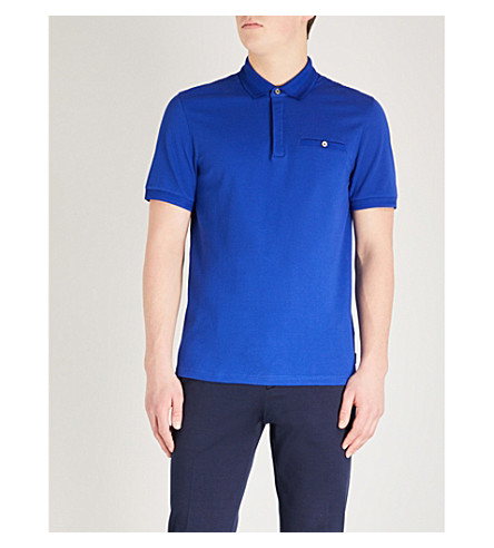 TED BAKER Textured cotton polo shirt (Bright+blue
