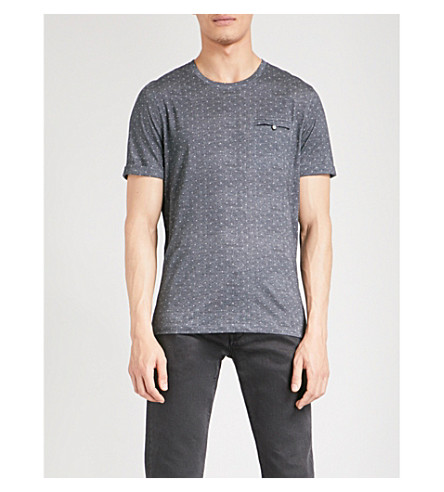 TED BAKER Giovani dotted cotton T-shirt (Navy