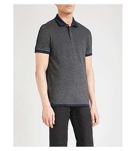 TED BAKER Denby marl-pattern cotton-blend polo shirt (Charcoal