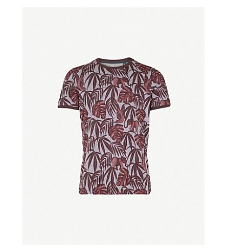 TED BAKER Marlinn tropical-print cotton T-shirt (Dark+red