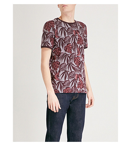 TED BAKER Marlinn tropical-print cotton T-shirt (Dark+red