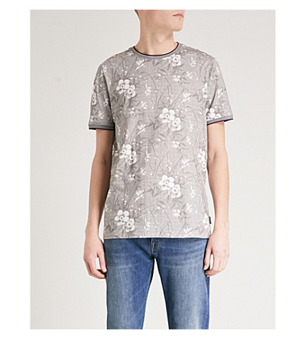 TED BAKER Floral-print cotton T-shirt (Grey