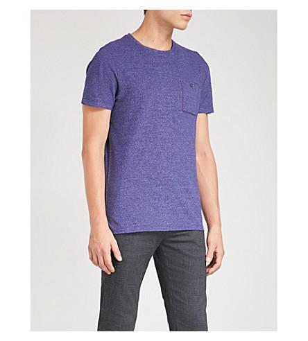 TED BAKER Patch-pocket cotton-blend T-shirt (Dark+blue