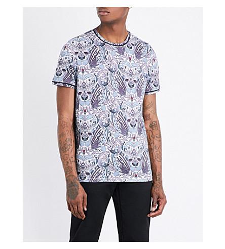 TED BAKER Floral-print cotton T-shirt (Purple