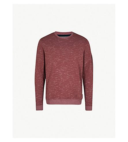 TED BAKER Zip-detail cotton-blend jumper (Dusky+pink