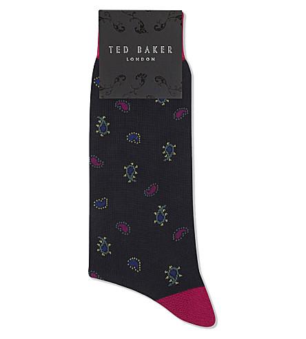 TED BAKER Cotton-blend paisley print socks (Navy