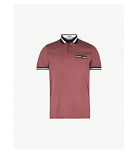TED BAKER Striped-trim cotton polo shirt (Dusky+pink