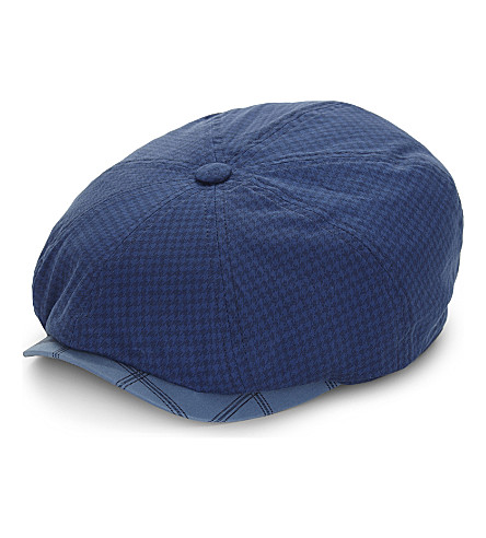 TED BAKER Inwon checked cotton-blend flat cap (Blue