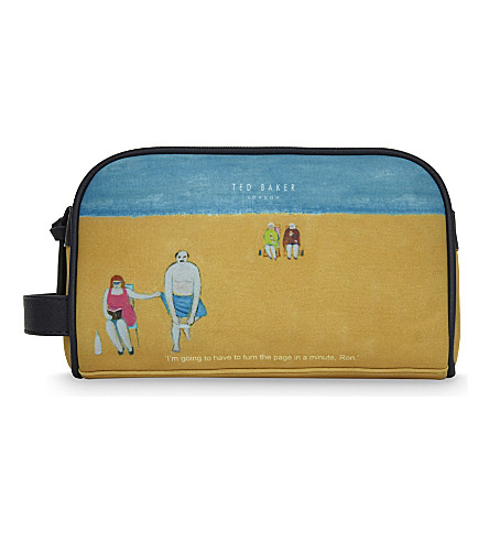 TED BAKER 'Ron' beach scene washbag (Blue