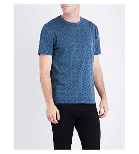 TED BAKER Geometric print cotton-jersey T-shirt (Blue