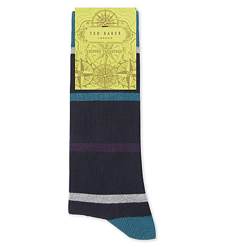 TED BAKER Striped organic cotton-blend socks (Dark+blue