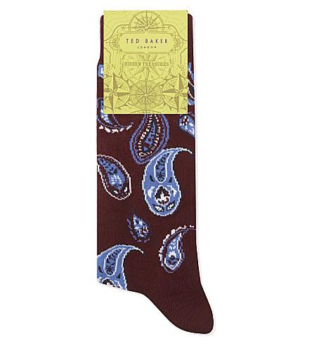 TED BAKER Labra paisley cotton-blend socks (Dark+red