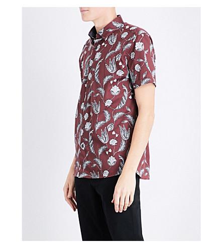 TED BAKER 花常规版型棉衬衫 (深色 + 红色