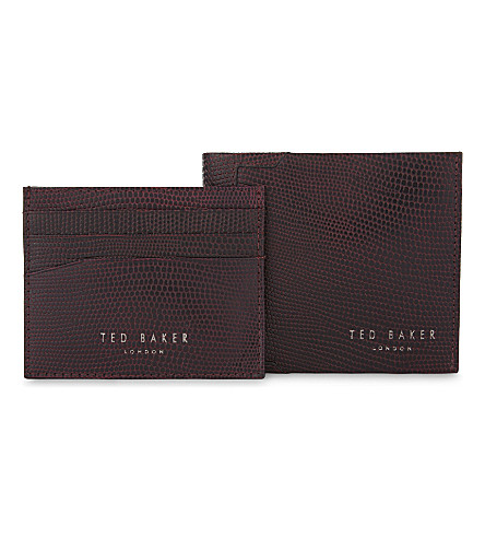bfb0fe0f3 ... TED BAKER Gekko lizard-embossed leather wallet and card holder set  (Dark+red. PreviousNext