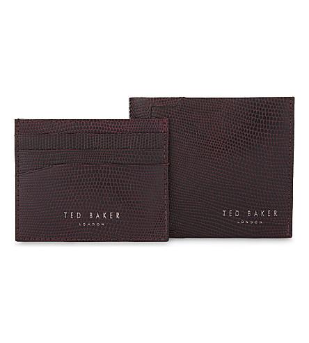 TED BAKER Gekko lizard-embossed leather wallet and card holder set (Dark+red