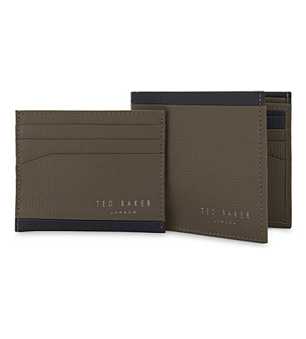 TED BAKER Crossgrain leather wallet and card holder set (Mid+green