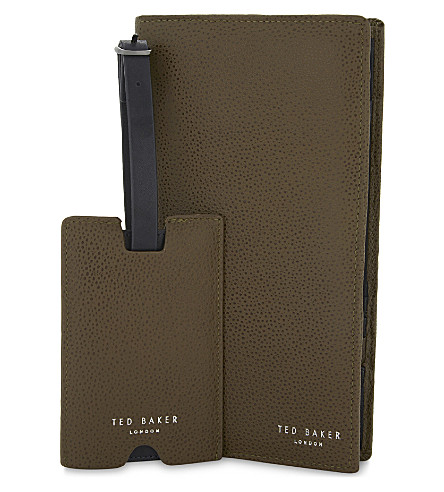 TED BAKER Travla pebbled leather travel wallet and luggage tag set (Tan