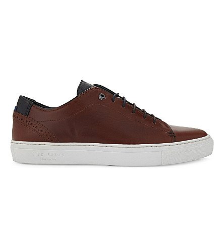 TED BAKER Duuke brogue detail leather trainers (Tan