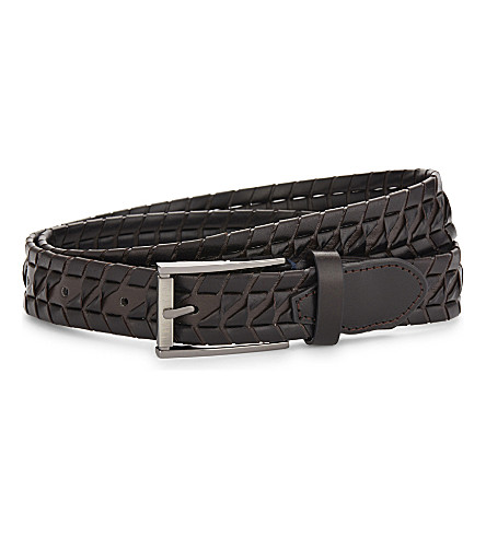 TED BAKER Wicker woven leather belt (Chocolate
