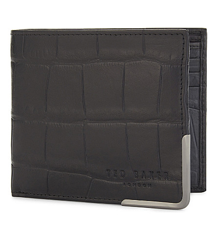 TED BAKER Crocodile embossed leather wallet (Black