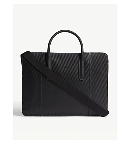 Discount Get Authentic Free Shipping Many Kinds Of TED BAKER Montan textured leather document bag Black XusJjVHwEK