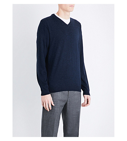 TED BAKER V-neck wool-blend jumper (Dark+blue