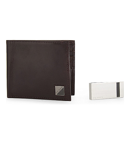 TED BAKER Camclip leather wallet and moneyclip set (Assorted