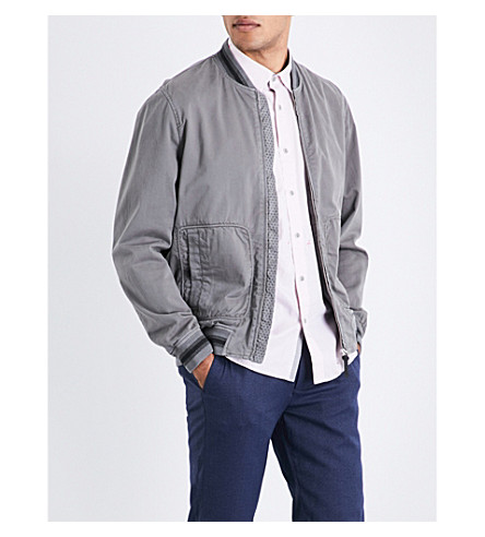 TED BAKER Laundered cotton bomber jacket (Grey