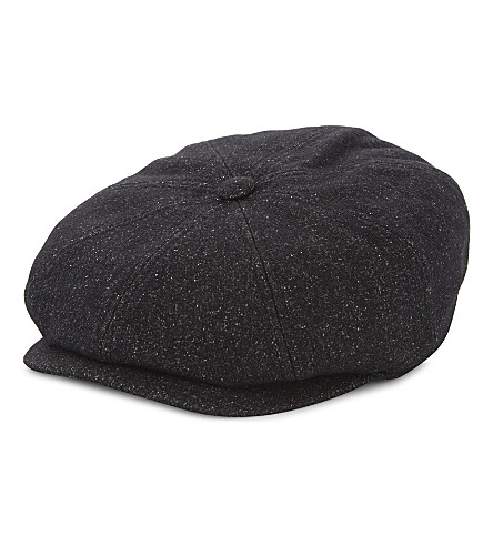 TED BAKER Baker boy wool-blend cap (Charcoal