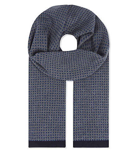 TED BAKER Gingco jacquard geometric-square cashmere-blend scarf (Grey+marl