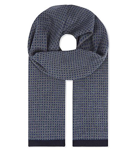 TED BAKER Gingco 提花几何方形羊绒混纺围巾 (灰 + 石灰泥