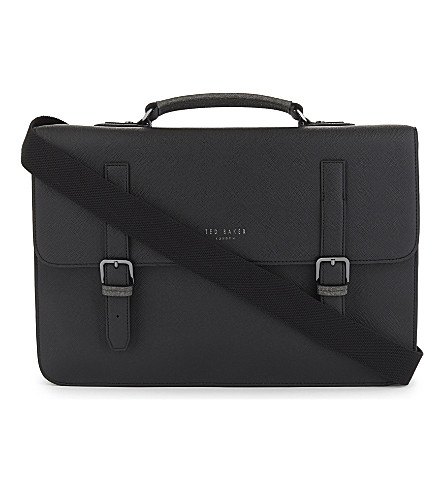 TED BAKER Spies cross-grain leather satchel (Black