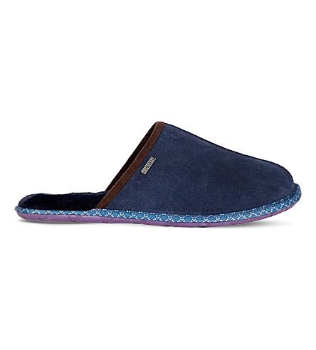 TED BAKER 骡子绒面革拖鞋 (深色 + 蓝色