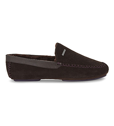 TED BAKER Classic moccasin suede slippers (Brown+suede