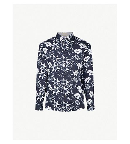 TED BAKER Floral-print regular-fit cotton shirt (Blue