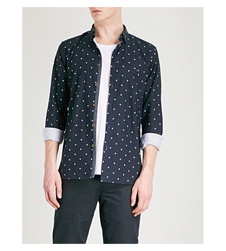 TED BAKER Monkey-print cotton shirt (Navy