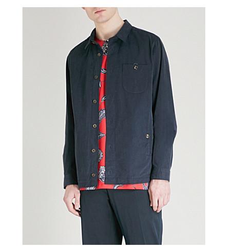 TED BAKER Keebord regular-fit brushed cotton-blend shirt (Navy