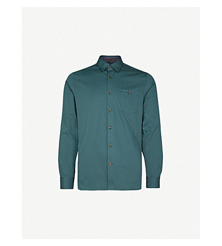 TED BAKER Polka dot-print cotton shirt (Dark+green
