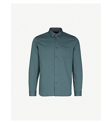TED BAKER Leaf-print cotton shirt (Dark+green