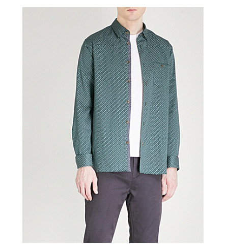 TED BAKER Leaf-print cotton shirt (Dark+green