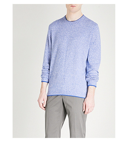 TED BAKER Crewneck cotton-blend jumper (Blue