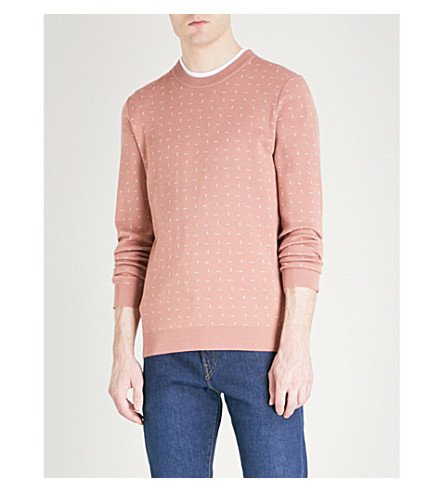 TED BAKER Crazy dash-patterned wool-blend jumper (Dusky+pink