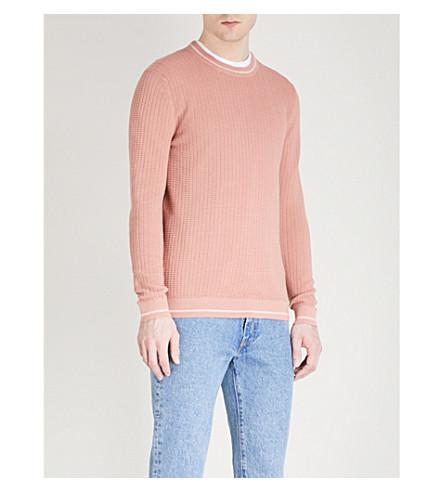 TED BAKER Toxic striped-trim cotton-blend jumper (Dusky+pink
