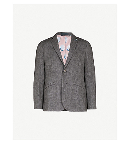 TED BAKER Slim-fit woven jacket (Charcoal