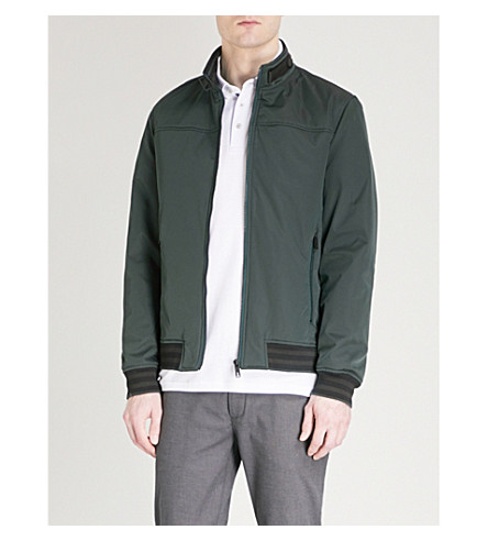 TED BAKER Copen striped-trim shell bomber jacket (Dark+green
