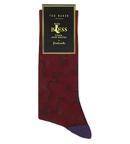 TED BAKER By Pantherella odd cotton-blend socks (Deep+pink