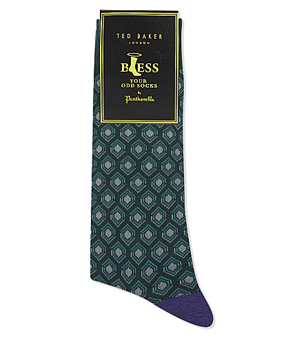 TED BAKER By Pantherella geometric cotton-blend socks (Green