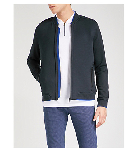 TED BAKER Zip-up jersey baseball jacket (Navy
