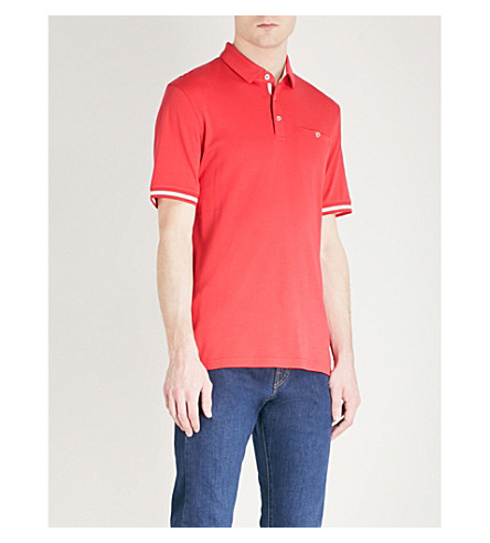 TED BAKER Puggle striped-trim cotton polo shirt (Coral