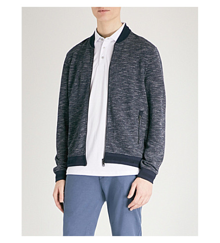 TED BAKER Tooba printed jersey bomber jacket (Navy
